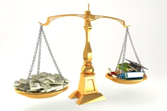3d illustration of balancing of money and education on scale