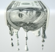 US Dollar Melting Dripping Banknote