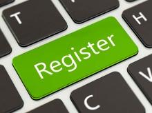 Closeup of register key on laptop keyboard